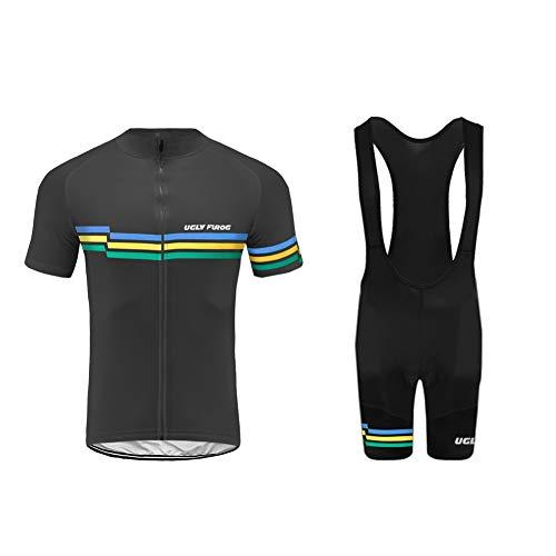 Uglyfrog Hombres Camiseta de Ciclismo Bicicleta Juego de Ropa para Camiseta Manga Corta + Cilindro de Pantalones con Asiento Acolchado