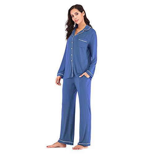 N\ A Pijamas de mujer de tamaño grande, suelto, casual, manga larga, pantalones de dos piezas, ropa para el hogar - - M