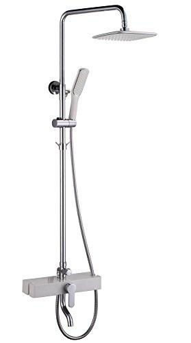 NIHE Pommeau de luxe en laiton 3 fonctions Ensemble de robinet de douche à cascade avec système de douche à finition chromée - Garantie de 5 ans