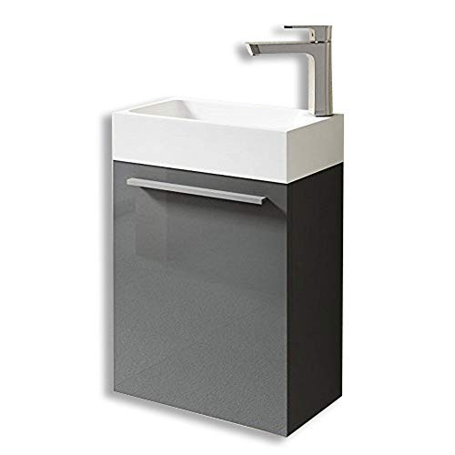 Mai&Mai Badmöbelset Pi bestehend aus Waschbecken und Waschbeckenunterschrank in Hochglanz Grau, BTH: 46x26x63cm