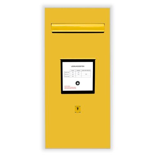 Banjado Wechselscheibe für IKEA GYLLEN Wandlampe | Glasscheibe für Wandleuchte 56x26cm | Echtglas Motiv Briefkasten Gelb | Hochformat
