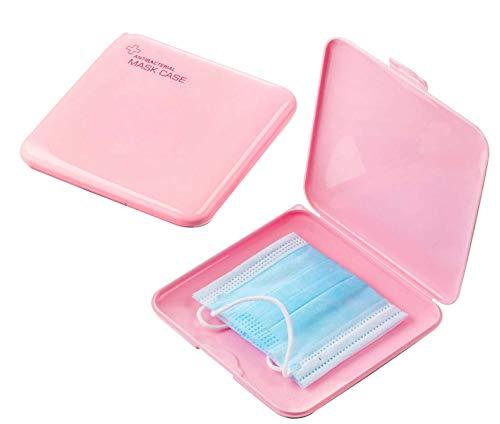 Boîtes de Rangement de Masque Portables en Plastique avec Couvercles, boîte de Rangement pour Masque Anti-poussière pour Masque de prévention,Rangement pour Masque Portable,Antibactérien JAANY(PINK)