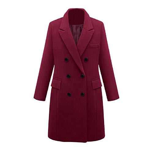 Para mujer de invierno solapa abrigo de lana gabardina chaqueta larga parka abrigo Outwear chaqueta de las mujeres caliente