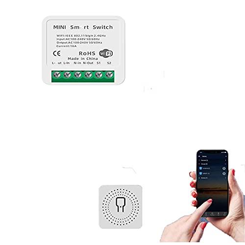 CHANG Interruttore smart wifi, Smart Switch WiFi, interruttore da incasso, modulo relè, telecomando con Smart Life, Google Home, controllo vocale con Alexa, Google Assistant, 16 A