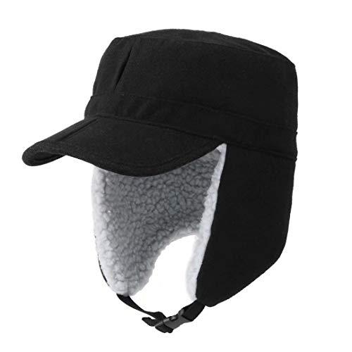 Home Prefer Mens Warm Trooper Trapper Hat Earflaps Winter Hat with Visor Military Cap Snow Ski Hat Black