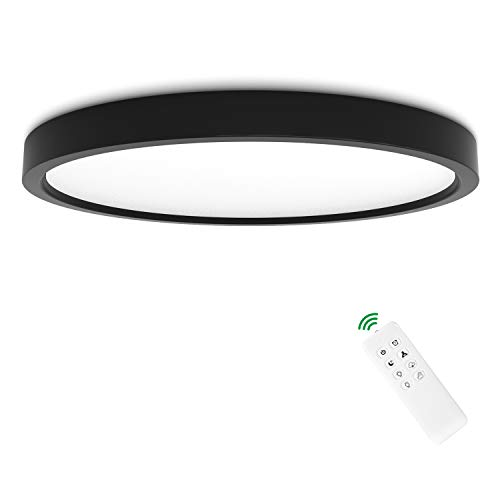 Anten New York I Lámpara de techo LED 24 W, con control remoto I Diámetro 30 cm I Negro I 3000-6500 Kelvin I Regulable y temperatura de color regulable