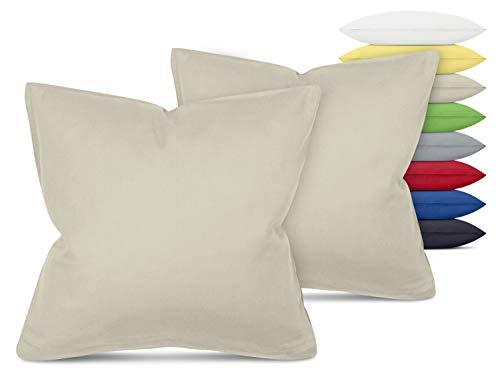 Unifarbene Kissenbezüge im Doppelpack - in 8 Farben und 3 Größen - Moderne Wohndekoration in dezentem Design, ca. 40 x 40 cm, beige
