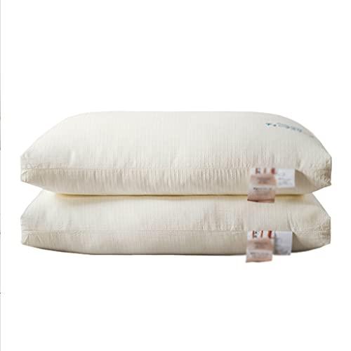LYUN Almohada de Soja de algodón Crudo Llena de Almohadas de la Cama de Fibra de Soja 2 Paquete para el Lado Posterior y durmientes del estómago (Color : Middle Pillow 2 Pack)