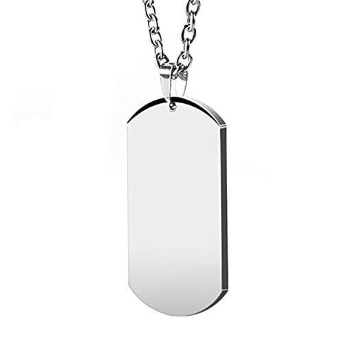 HZMAN Mens High Polishing Stainless Steel Dog Tag Pendant Necklace 22+2 Inch Link Chain (Silver) Illinois