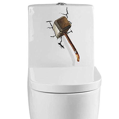 RQMQRL 3D Hammer Gebrochene Ansicht Wandaufkleber Abziehbilder Lebendige Tür Wc Kühlschrank Computer Dekor Kunst Wandtattoos Kunst Poster