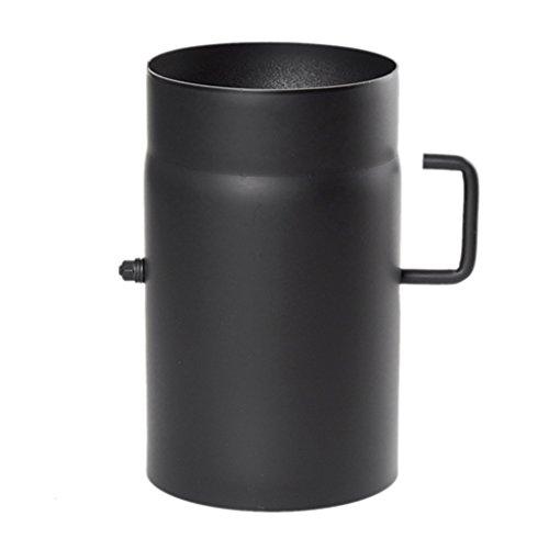 Ø 130 mm - Ofenrohr 25 cm mit Drosselklappe Schwarz