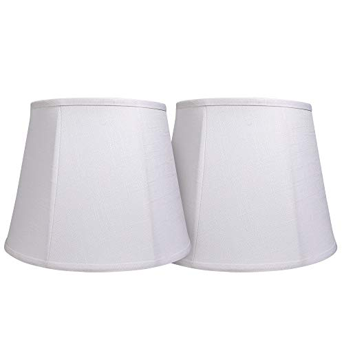 Double Tootoo Star White Lamp Shade Set of 2, Large Drum Lampshade for Floor Light and Table Lamp 10x14x10 inch, DIY Fabric Natural Linen Hand Crafted, Spider (White, 10x14x10 inch)
