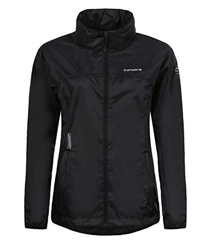 ICEPEAK Damen Regenjacke Kapuzenjacke Windjacke Rain Jacket Anne 9-53 023 641, Farbe:Schwarz, Größe:40, Artikel:-990 Black