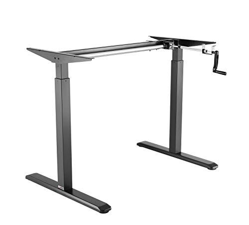 Exeta ergoK höhenverstellbarer Schreibtisch/Computertisch (Version 2021) manuell mit eleganter Kurbel, höhenverstellbares Tischgestell - passend für alle gängigen Tischplatten Schwarz