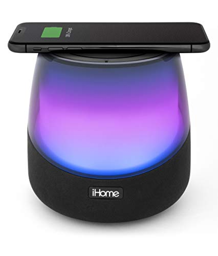 iHome iBTW750 Color Changing Bluetooth Speaker with Passive Subwoofer and Built in Qi-Certified Wireless Charging Pad