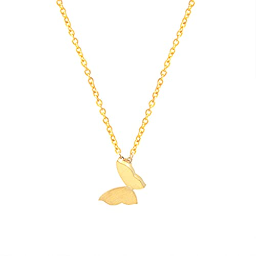 Collar con colgante de ala de mariposa para mujer Bohemia Moderna cadena de acero inoxidable accesorio dorado BFF Color oro rosa