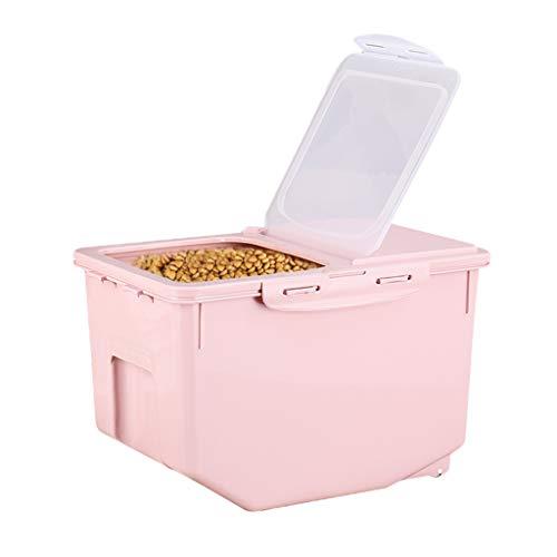 Jlxl Mascotas Envase Alimentos,Comida para Perros Cereales De Ave Caja De Almacenaje Bloqueable La Tapa Flip (Color : Pink, Size : M)