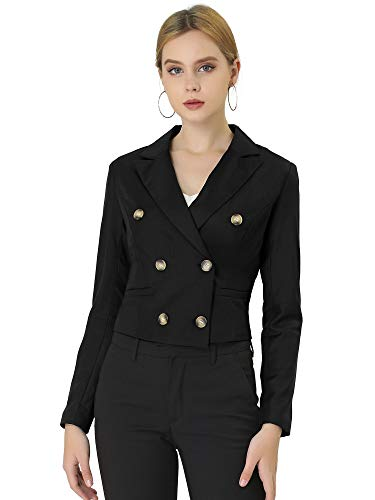 Allegra K Women's Double Breasted Notched Lapel Jacket Slim Fit Cropped Blazer Small Black