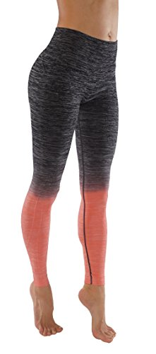 Women's Flexible Yoga Pants Ombre Leggings Activewaer L704 (S, L704-Bl.Coral)