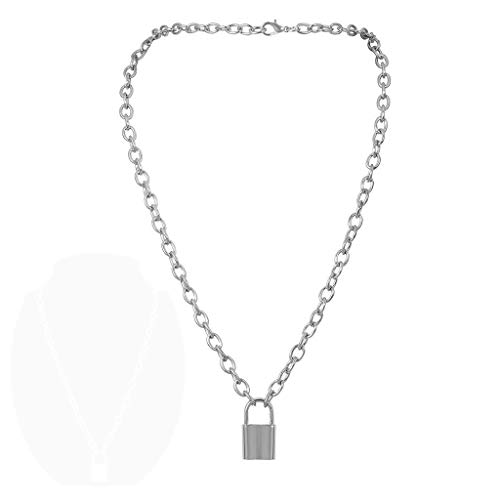 Preisvergleich Produktbild INOOY Legierung Halsketten-Lock Anhänger Chunky Kette Punk Gothic Halskette für Frauen Männer,  Silber
