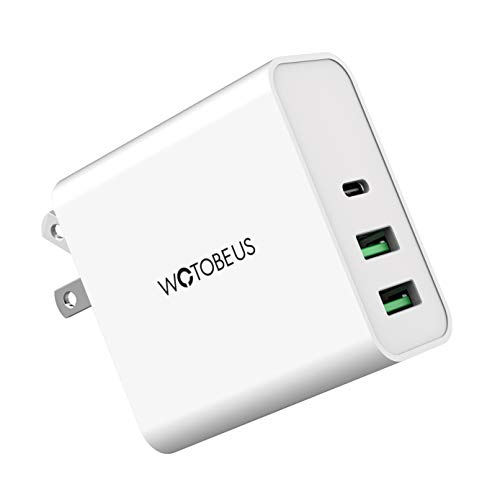USB C PD Wall Fast Charger 65W WOTOBEUS USB A Type C Power Adapter 3 Port QC3.0 Folding Plug Laptop Phone Quick Charger for iPhone SE 11/MacBook Pro Air/Lenovo ThinkPad/iPad Pro/S9/S10/Note9/Dell/HP