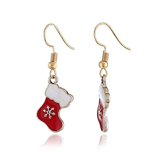 Swiftswan Christmas Stocking Mistletoe Earrings Dangle New Year Decoration Jewelry Women Girl Teen Gift Charm