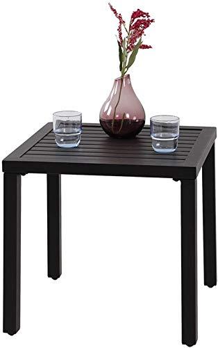 PHIVILLA Kaffeetische Beistelltisch aus Stahl mit rostfreier Beschichtung Gartentisch Schwarz 48 * 48 * 46cm