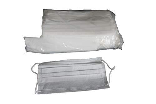 Mascarilla rectangular, 3 capas, c/gomas Talla Unica (Blanco) – 50 Unidades