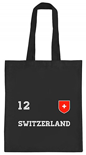 ShirtStreet Swiss Fußball WM Fanfest Gruppen natur Jutebeutel Stoffbeutel Tote Bag Trikot Schweiz, Größe: onesize,schwarz natur