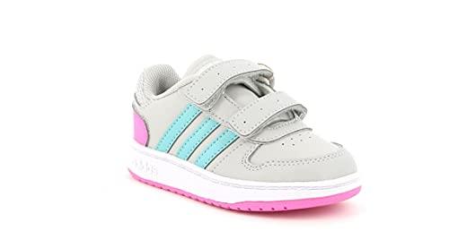 adidas Unisex Baby Hoops 2.0 CMF Basketball Shoe, Grey/Mint Ton/Screaming Pink, 26 EU
