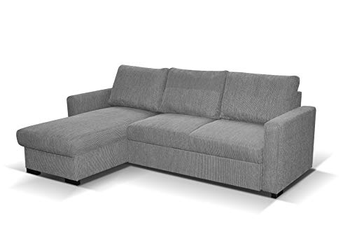 Tokyo Corner Sofa Bed Grey Fabric - universal SofaBed - left or Right Side sofa