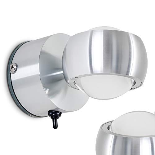 LED Wandlampe Florenz, runde Wandleuchte aus Metall u. Glas in Aluminium gebürstet, Wandspot 2-flammig mit Ein-/Ausschalter, 2 x 3 Watt, 480 Lumen insgesamt, 3000 Kelvin, IP44 für Badezimmer geeignet