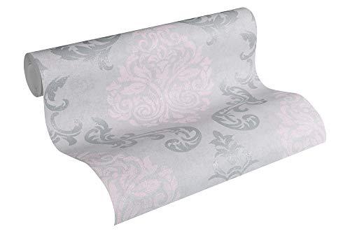 A.S. Création Vliestapete Memory Tapete neo barock glamourös klassisch 10,05 m x 0,53 m grau metallic rosa Made in Germany 953726 95372-6