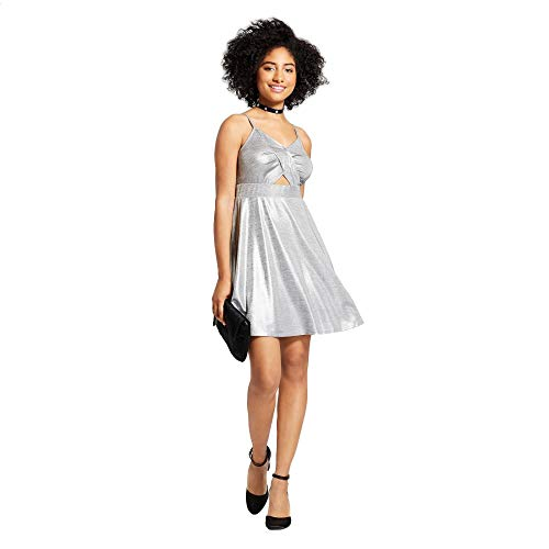 Xhilaration Women's Strappy Cut Out Fit & Flare Party Dress Medium Silver