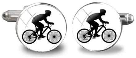 Bicycle Cufflinks, Bike Wheel Mountain Cufflink, Cyclist Racing Bicycle Racer Mens Accessories Cuff Link