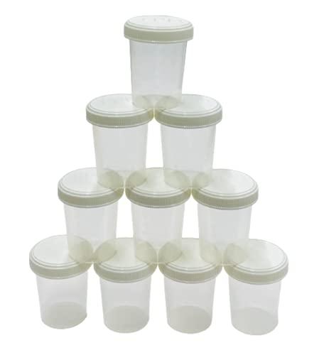 JPD 【10個セット】120ml サンプルボトル ボトル 小分け プラスチック PP 半透明 広口 スクリューキャップ 目盛付き 耐水紙ラベルシール 12枚付き 液体 個体 粉末 JPD(J Product Design) 日本製 (ホワイトフタ)