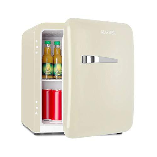 Klarstein Audrey Mini Retro-Kühlschrank Minikühlschrank Getränkekühlschrank, Energieeffizienzklasse A+, 48 Liter Fassungsvermögen, 2 Ebenen, Kühltemperatur: 0-10 °C, VintAge Concept, beige