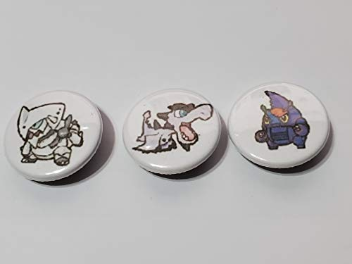 Custom 1' inch Buttons - Mega Aggron, Mega Aerodactyl, and Mega Heracross Set - Custom Made - Pin Back - Gift Party Favor Vmax GX EX
