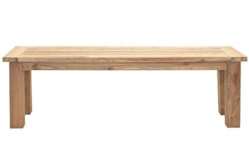 OUTFLEXX attraktive Sitzbank Bank in Natur aus hochwertigem, massiven Teakholz, ca. 150 x 40 x 45 cm, Gartenbank, Holzbank für 2 Personen, witterungsbeständig, Zeitloses Design, wetterfest, standfest