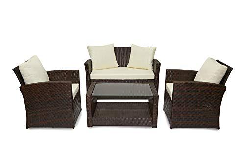 EVRE Rattan Garden Outdoor Furniture Patio Roma Sofa Set (Brown)