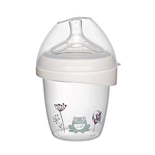nip first moments Babyflasche Silikon: 150 ml, S Sauger, mit extra breiter Lippenauflage speziell für Neugeborene