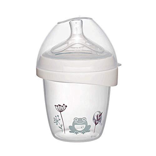 nip® first moments Weithalsflasche Silikon: 150 mL, S Sauger, mit extra breiter Lippenauflage speziell für Neugeborene
