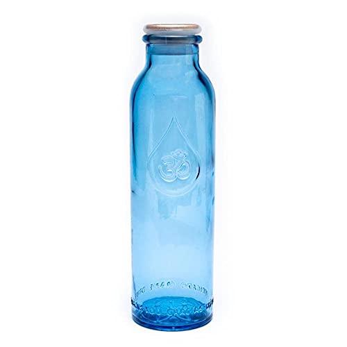 Mini botella de agua OmWater 0,5 L - Vidrio Reciclado Libre de Metales Pesados, Tapon ecologico, Bolsa de Algodon 100% organico