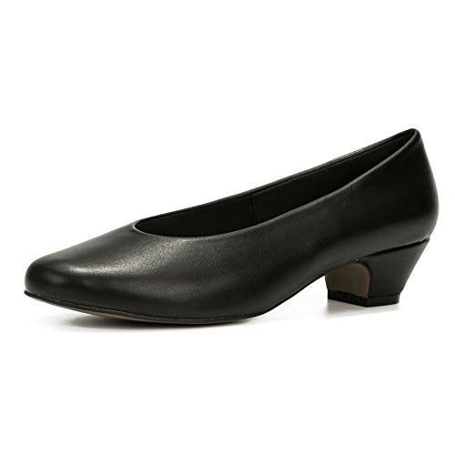LIURUIJIA Women's Closed Toe Low Chunky Heel Pumps | Dress Work Party Shoes Black Matte PU-36(230/US5)