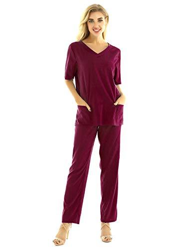 iixpin Unisex Schlupfkasack Schlupfjacke+Schlupfhose Set Medizin Arzt Uniform Berufskleidung Krankenschwester Kasack Bekleidung Gr.S-3XL Wein Rot XXXL