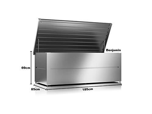 ILESTO Aufbewahrungsbox aus Stahl, Benjamin (783L): Auflagenbox wasserdicht XXL | Kissenbox für Ihren Garten 185x85x69cm | Stauraum für den Außenbereich | Silber Metallic - 3