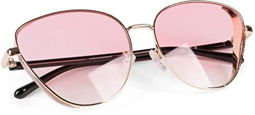 styleBREAKER gafas de sol de mujer de ojos de gato con elemento brillante en las lentes, montura de metal y lentes de policarbonato, «look retro» 09020104, color:Marco oro/cristal rosa tintado