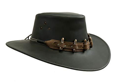 Kakadu Traders Australia The Croc - Cappello in pelle, misura grande, colore: Nero