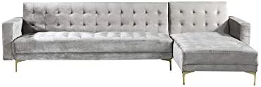 Best Iconic Home Amandal Convertible Sofa Sleeper Bed L Shape Chaise Tufted Velvet Upholstered Gold Tone