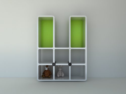 CUMIX Design Regal System cm-mv-003 weiß, Rückwand grün
